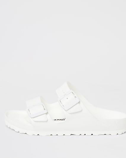 White Birkenstock double strap Sandals