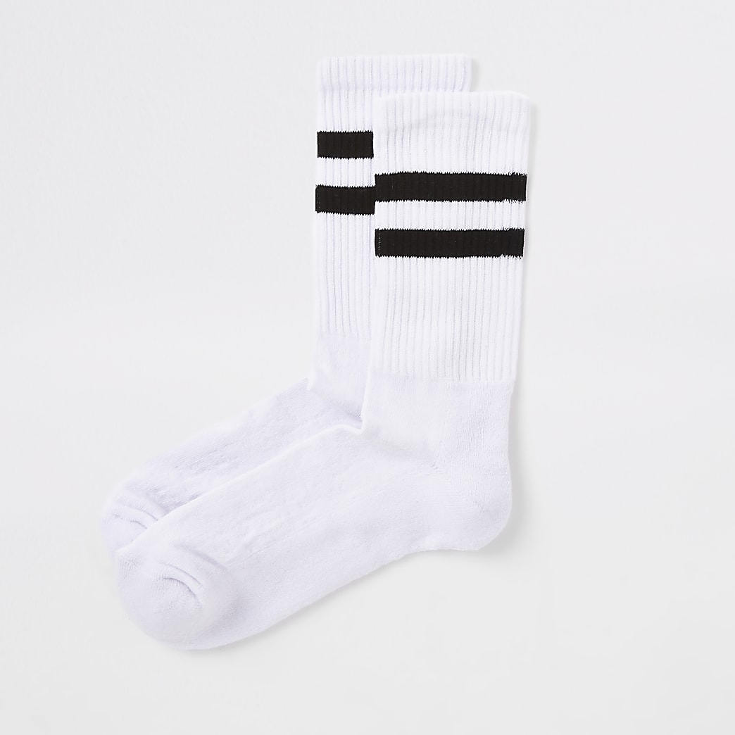 White black stripe tube socks