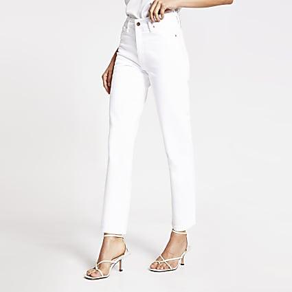 White Blair high rise straight jeans