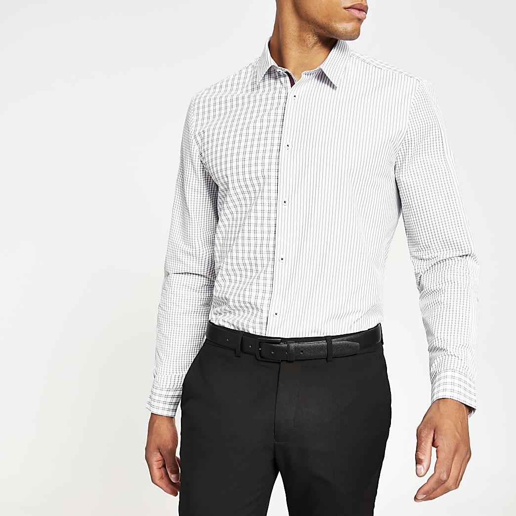 Wit slim-fit overhemd met kleurvlakken en print