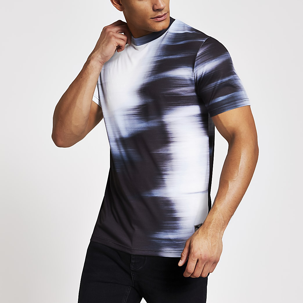 White blurred fade slim fit T-shirt