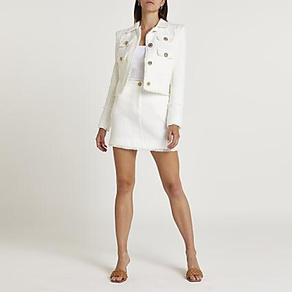 White boucle blazer