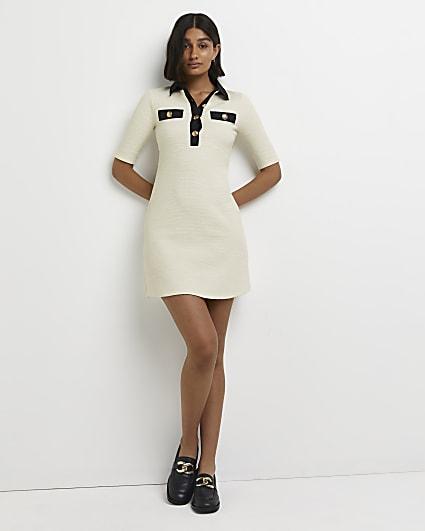 White boucle bodycon mini dress