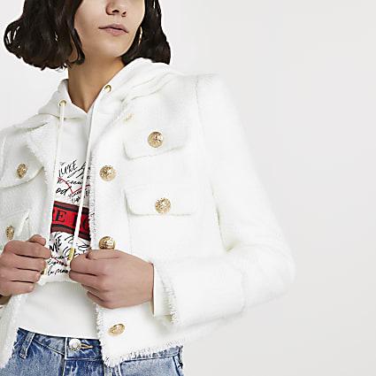 White boucle gold button detail jacket