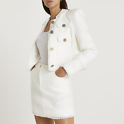 White boucle mini skirt