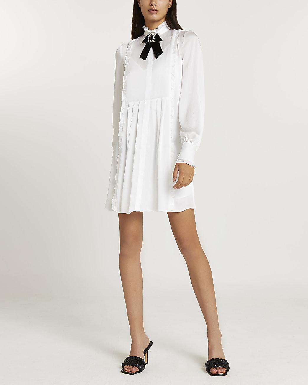 White bow detail mini dress