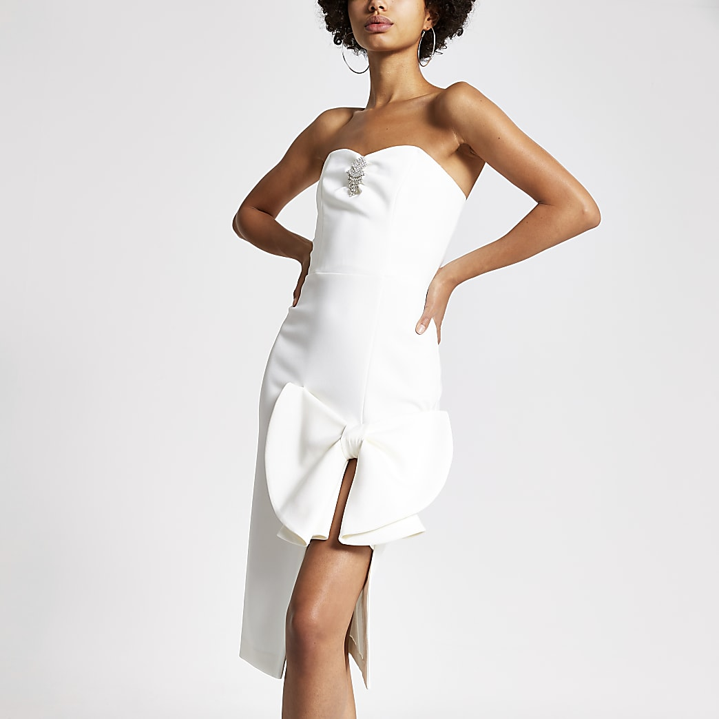 White bow front embellished bandeau dress
