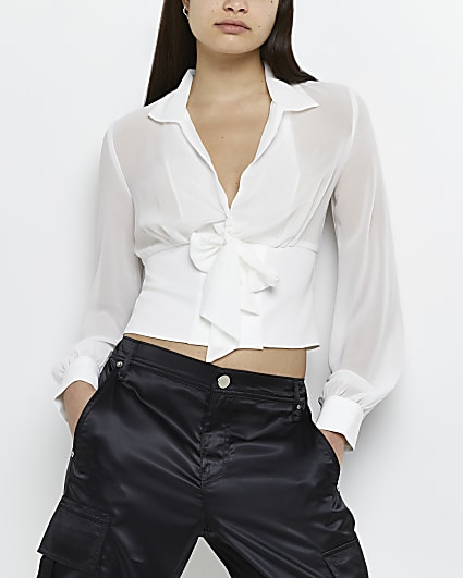 White bow neck cropped blouse