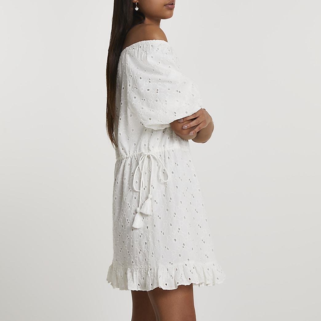 White broderie bardot mini dress