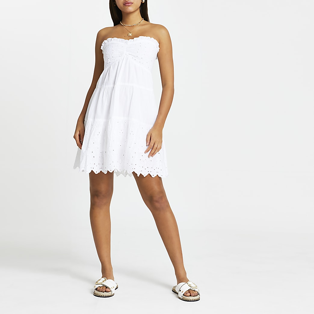 White broderie beach dress