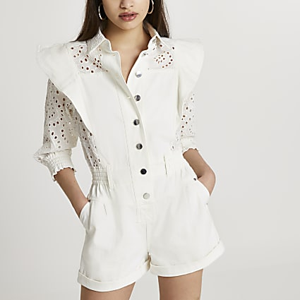 White broderie button down playsuit