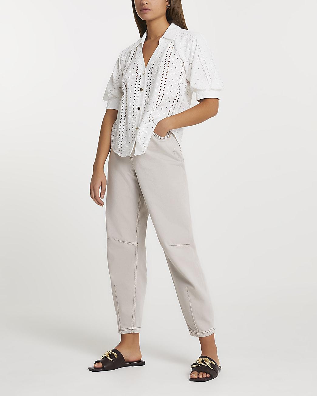 White broderie button down shirt