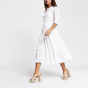 White broderie lace long sleeve midi dress
