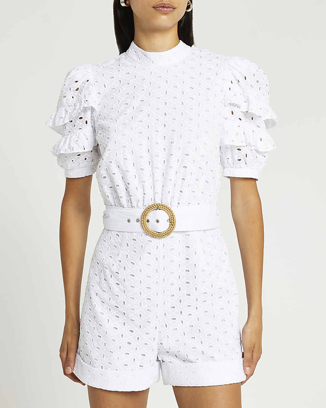 White broderie playsuit