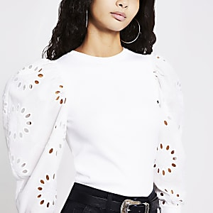 White broderie puff sleeve ribbed top