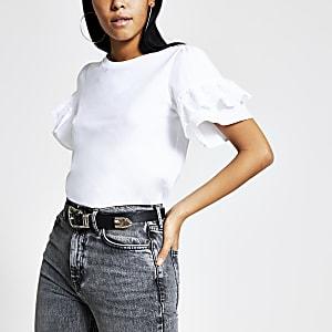 Weißes T-Shirt mit Lochstickerei und kurzen Trompetenärmeln