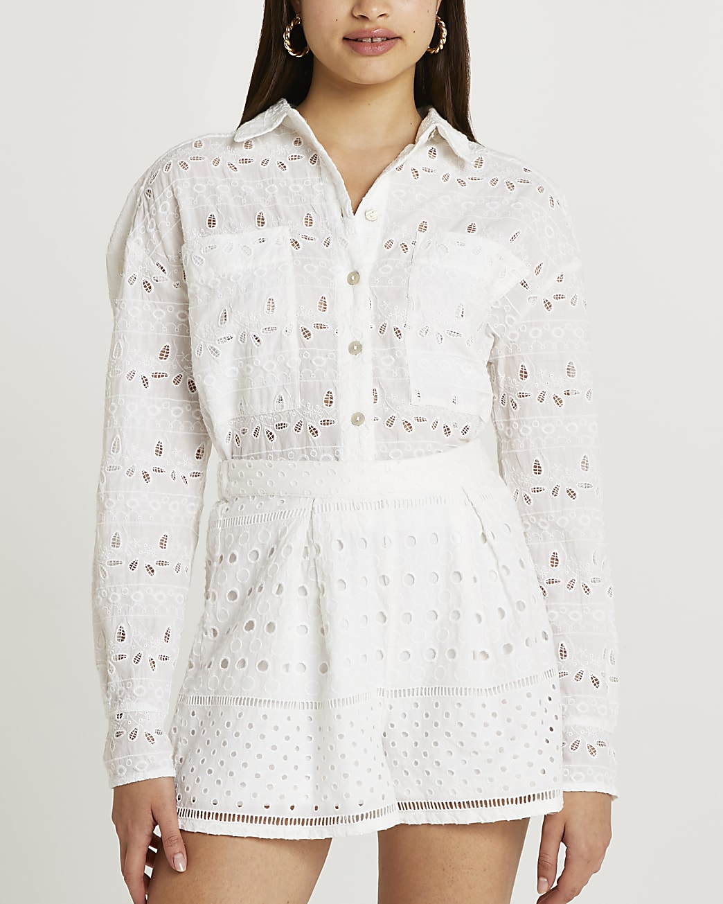 White broderie shorts