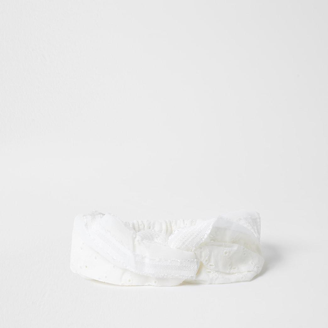 White broderie soft headband
