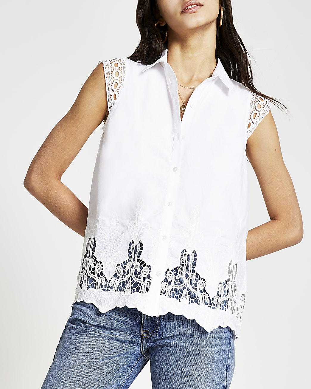 White broderie trim shirt