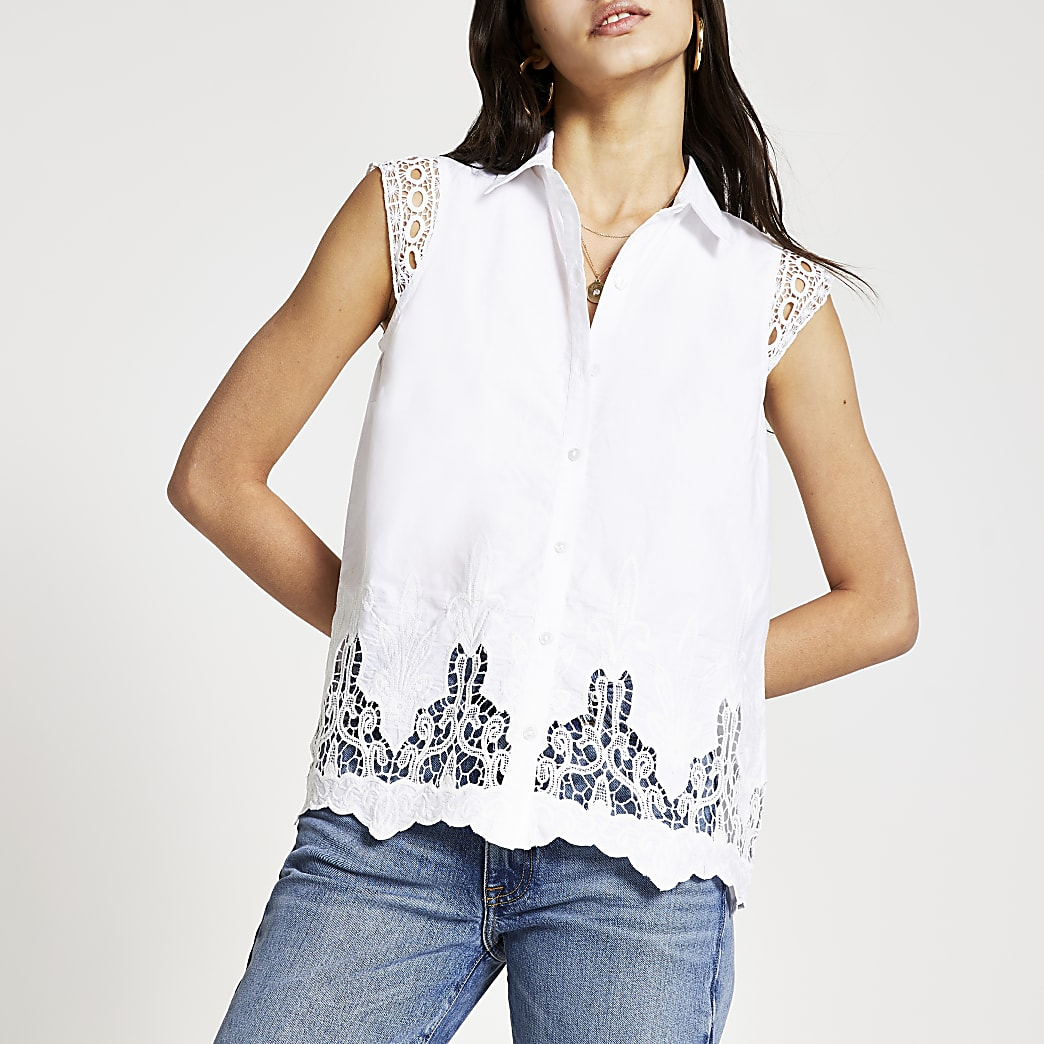 White broderie trim shirt