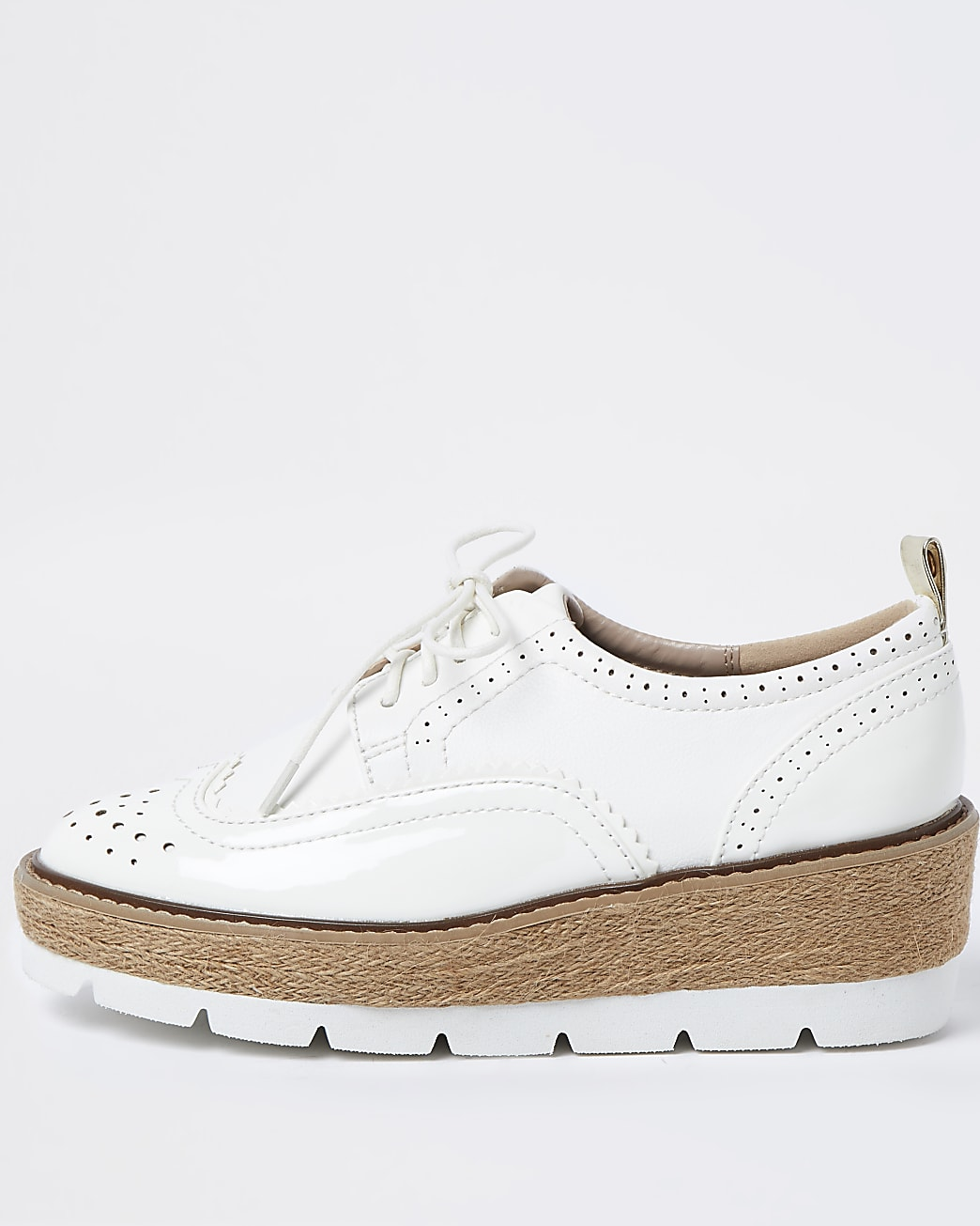 White brogue wedge platform shoes