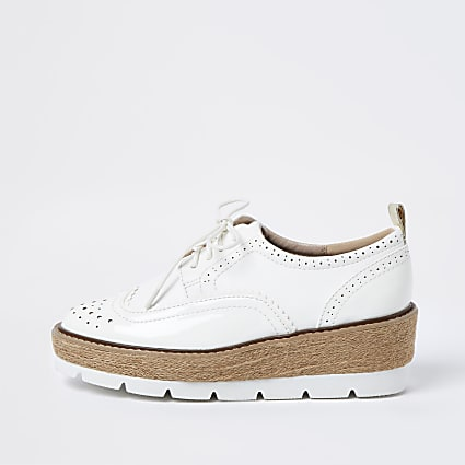 White brogue wedge platform shoes