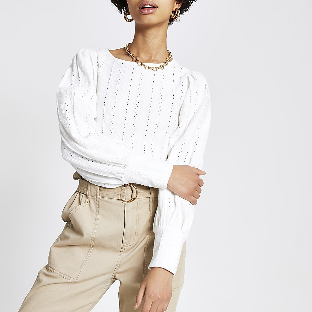White broidered puff sleeve top