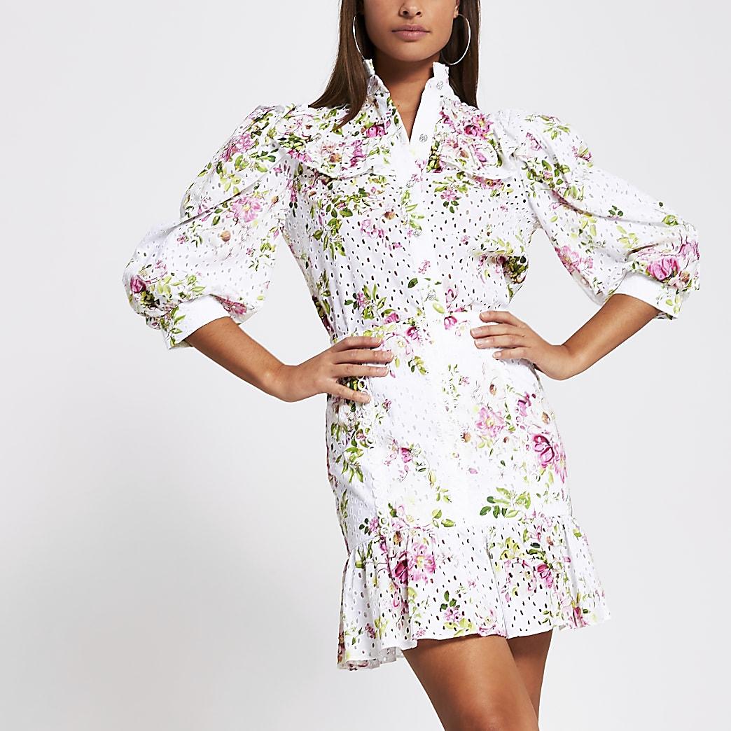 White broidery peplum mini skirt