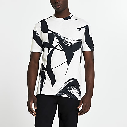 White brushstroke print slim fit t-shirt