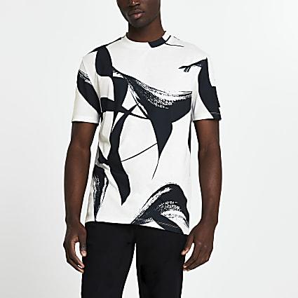 White brushstroke print slim fit t-shirt