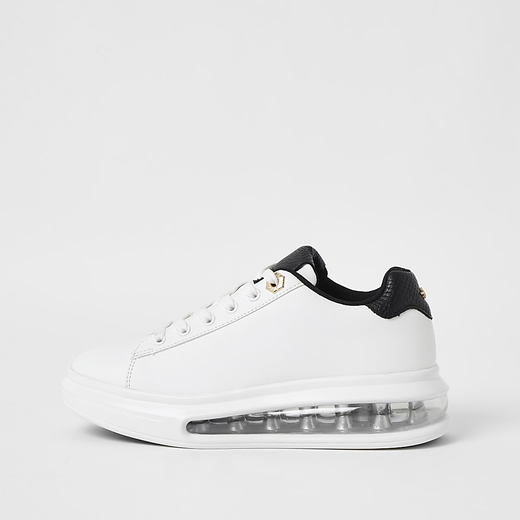 White bubble lace up outsole trainers