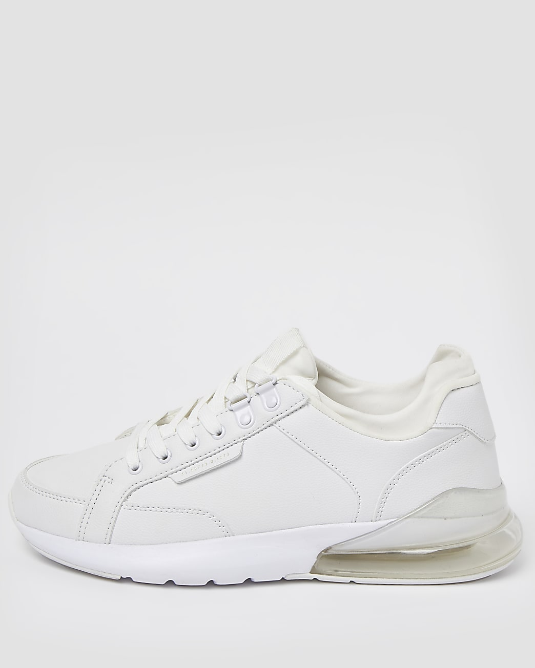 White bubble lace up runner trainers
