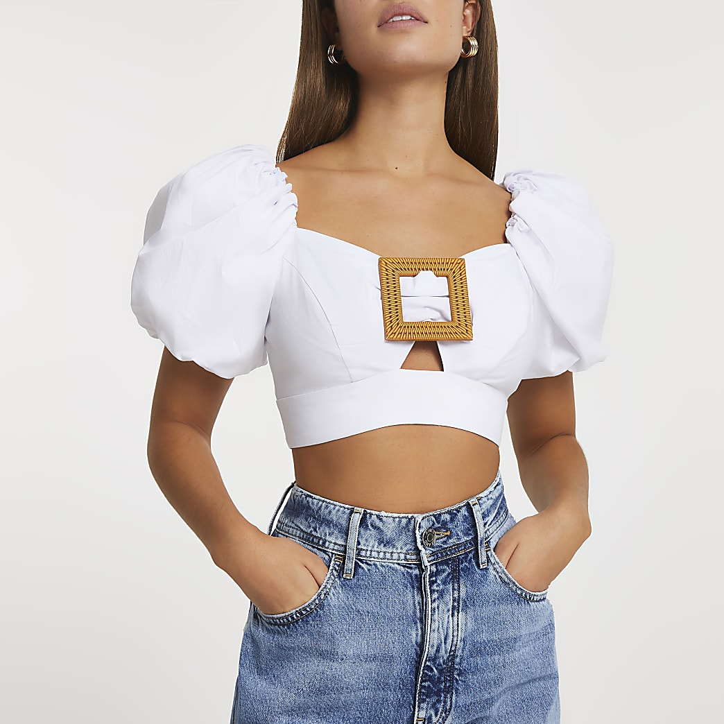 White buckle front puff sleeve crop top