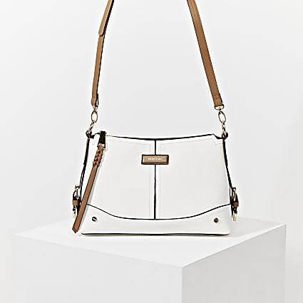 White buckle side cross body Handbag