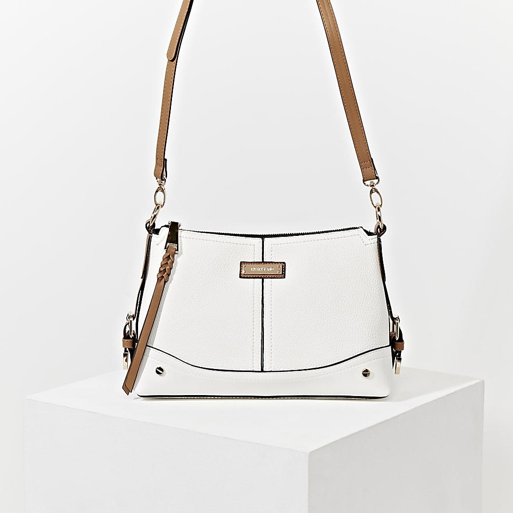 White buckle side cross body Handbag