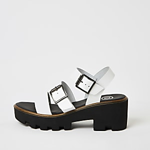 White buckle strap chunky sandals