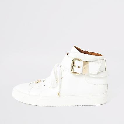 White buckle strap high top trainers