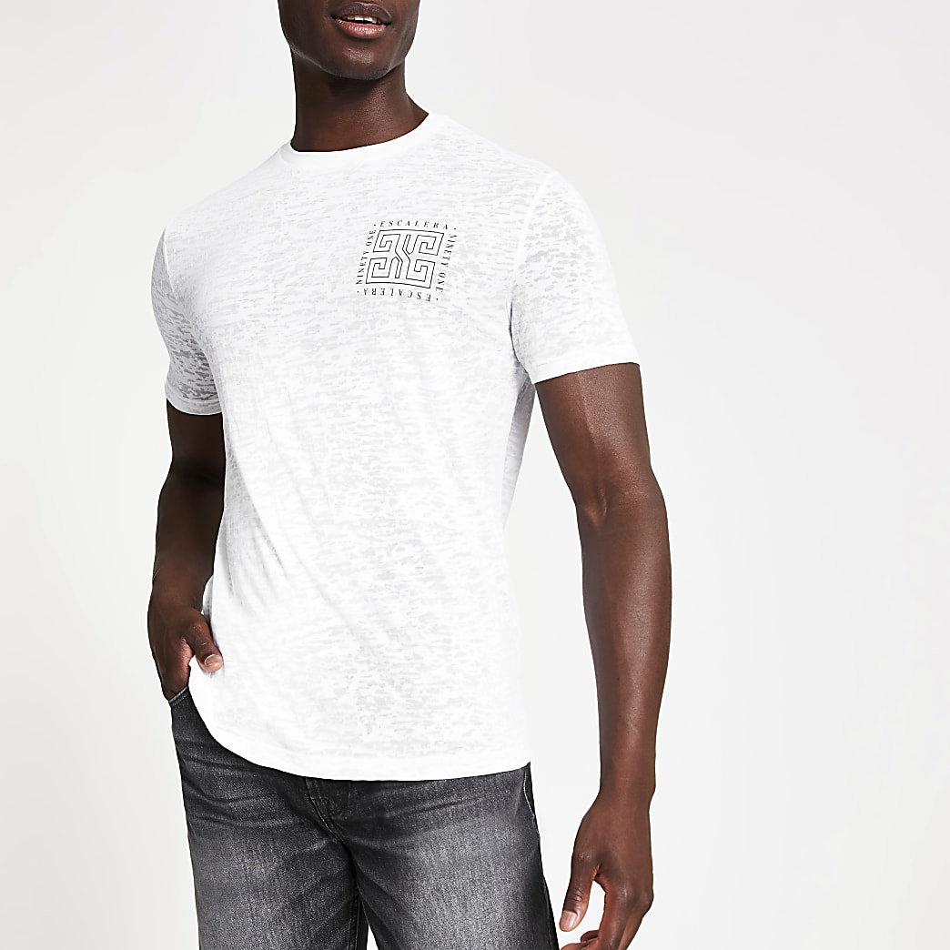 White burnout printed slim fit T-shirt