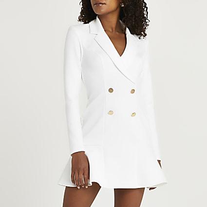 White button detail peplum mini blazer dress