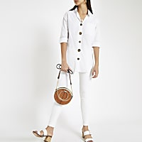 White button front cotton shirt