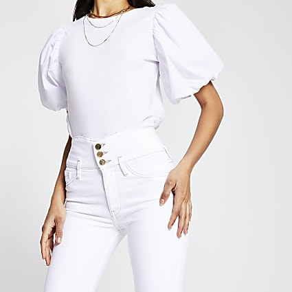 White button high rise skinny jeans