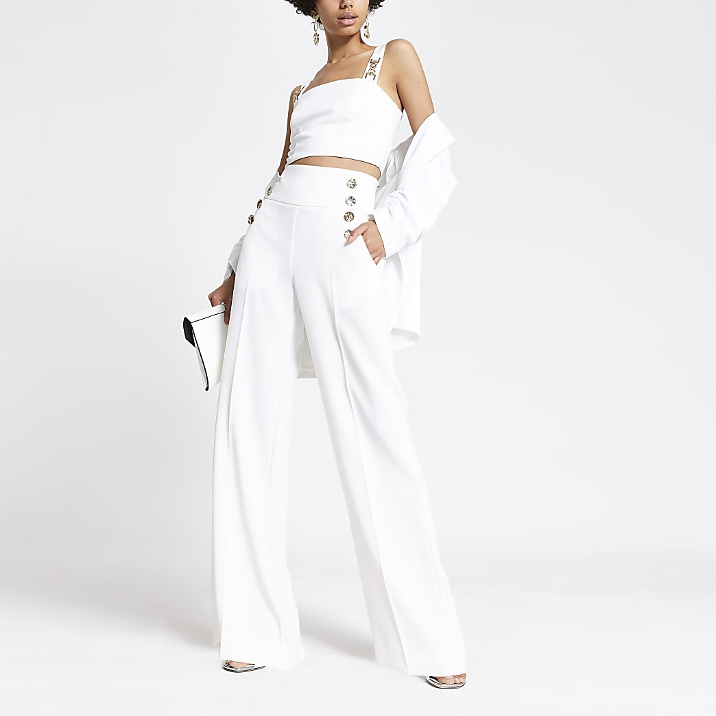 White button wide leg trousers