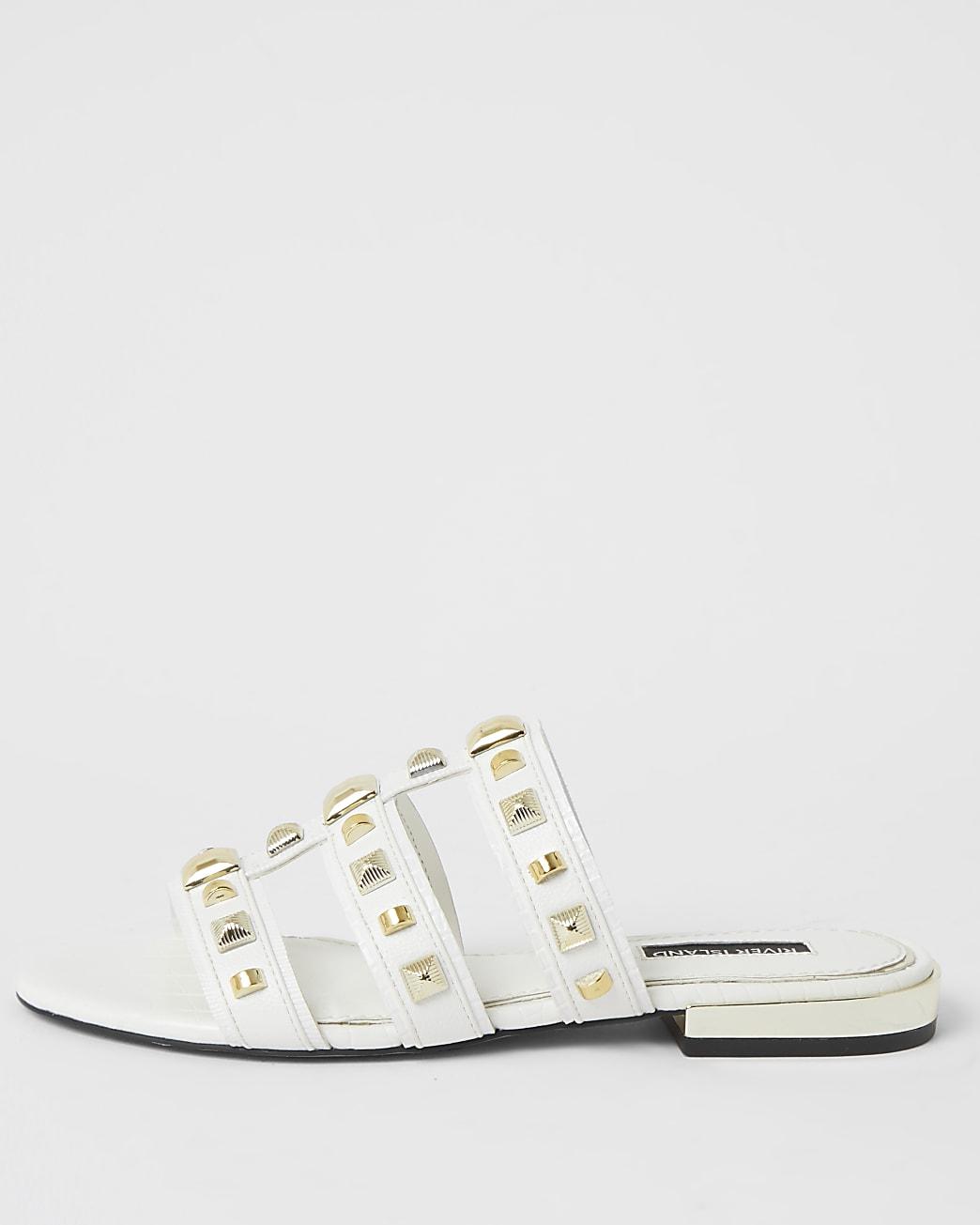 White caged studded flat Mule sandal