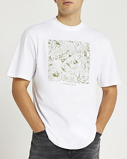 White camo box print regular fit t-shirt