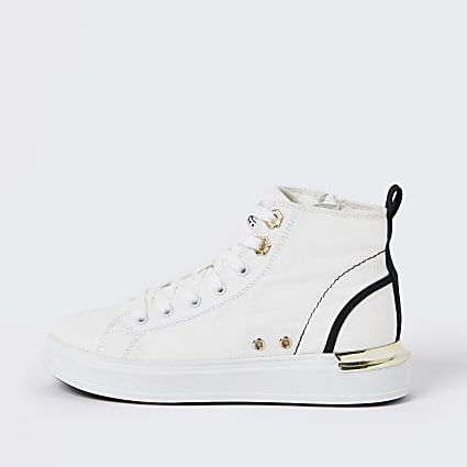 White canvas high top trainers