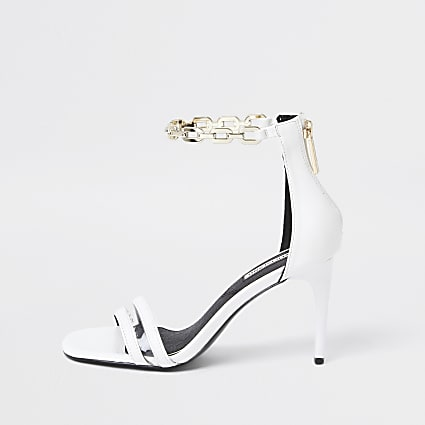 White chain ankle barely there heeled sandals