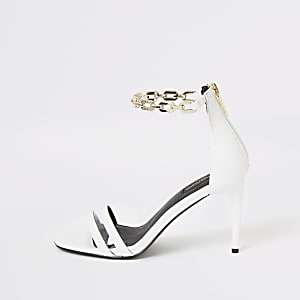 White chain ankle wide fit heeled sandals
