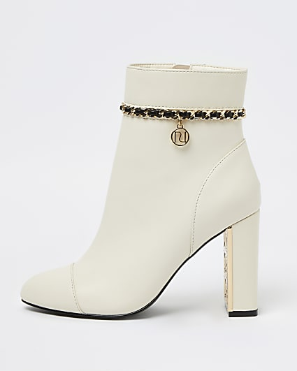 White chain detail ankle boots