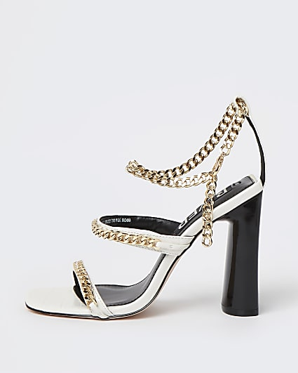 White chain detail heeled sandals