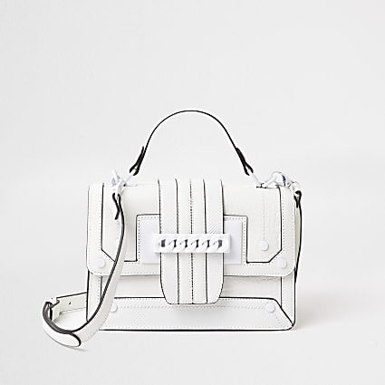 White chain front cross body satchel handbag